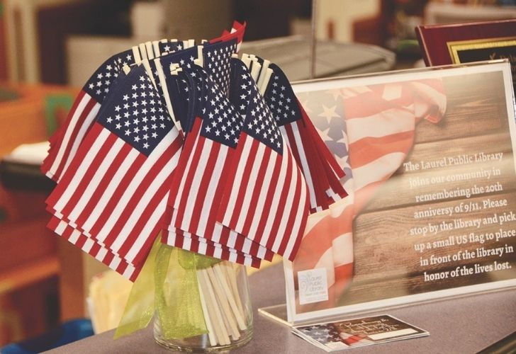 Laurel Public Library commemorates 9/11 on 20th anniversary with posters, flags